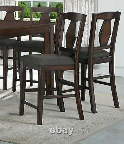 Modern Unique 8pc Set Counter Height Dining Table Side Chairs Bench Brown