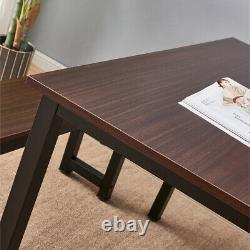 Modern Wooden 3 Piece Dining Table Set with Two Benches Stools Studio Collection