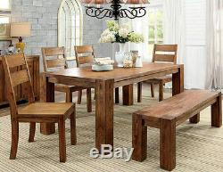 NEW 6PC CABIN DOUGLAS DARK OAK FINISH WOOD DINING TABLE SET with CHAIRS AND BENCH