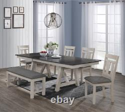 NEW 6PC Modern Rustic Chalk Gray 66-94 Table, 4 Chairs, Bench Dining Room Set