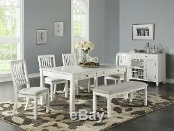 NEW AVALON WEATHERED WHITE FINISH WOOD DINING TABLE SET with DRAWERS BENCH CHAIRS