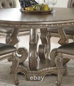 NEW Antique Champagne Finish Dining Room 7 piece Round Table Chairs Set ICB4