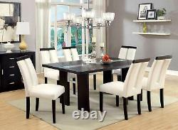 NEW Dining Room Black Rectangular Table w. LED Lighted & Beige Chairs Set ICE1