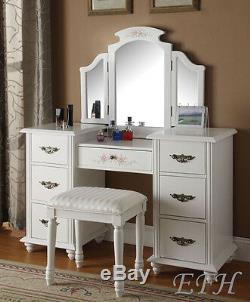 NEW FLORAL JEZEBELL WHITE FINISH WOOD 7 DRAWER VANITY TABLE withMIRROR & BENCH SET