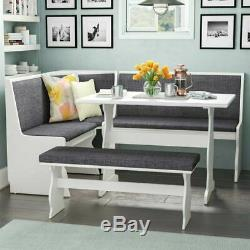 NEW Gray & White Top Breakfast Nook Dining Set Corner Booth Bench Kitchen Table