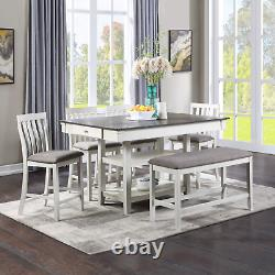 NEW Modern Chalk White Gray 42x60 Dining Table 4 Chairs Counter Height Pub Set