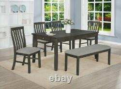 NEW Modern Rustic Gray 6PC Dining Table with 2 Pull-Drawers, 4 Chairs, Bench Set