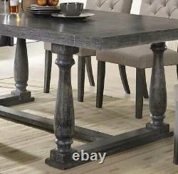 NEW Weathered Gray Oak Dining Room 7 piece Rectangular Table Chairs Set ICBT