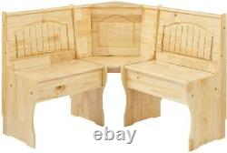 Natural Wooden Breakfast Nook Dining Set Corner Bench Booth Kitchen Table 3 Pcs
