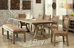 New 6pc Averly Rustic Finish Solid Pine Wood Dining Table Chairs Bench Set