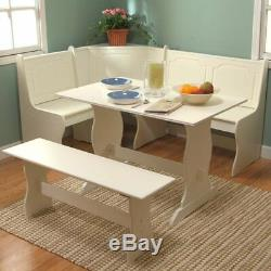 Dining Set Kitchen Table Bench White
