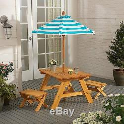 Outdoor Furniture 4Pc Kids Picnic Patio Dining Set with Umbrella Table Benches