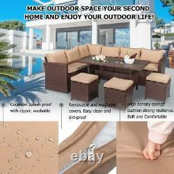 Outdoor Garden Dining Set Patio Table Chair Stool Rattan Furniture with Cushion
