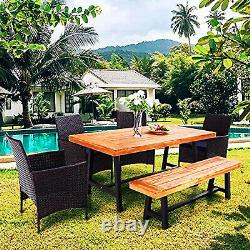 Outdoor Patio Dining Set Wood Table Bench Rattan Chairs with Cushion Furniture