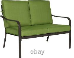 Outdoor Patio Furniture Conversation Set with Green Cushions 4 Piece Brown Steel