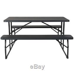 Outdoor Picnic Plastic Folding Table & Benches Set in Charcoal Wood Grain Finish