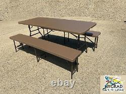 Outdoor Rattan Effect Foldable Table And Bench Portable Picnic Table & Bench UK