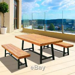 Outsunny 3 Piece 71 Acacia Wood Outdoor Picnic Table and Bench Set Patio