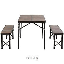 Outsunny Aluminum Picnic Table 2 Bench Chair Set 4 Seat Patio Wood Color