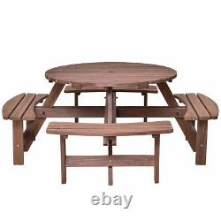 Patio 8 Seat Wood Picnic Table Beer Dining Seat Bench Set Pub Garden Yard