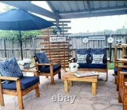 Patio Furniture Handmade 4 Piece Wood Outdoor Bench Chair Table Set