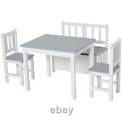 Qaba 4-Piece Set Kids Wood Table Chair Bench with Storage Function for 3 Years+