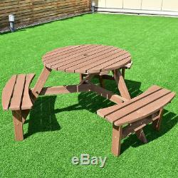 Round Picnic Table With 6 Person Bench Set Umbrella Hole Outdoor Patio Furniture