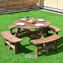 Round Picnic Table With Bench Set Seating Up To 8 Wood Outdoor Patio Furniture