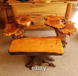 Rustic Burl Root Solid Wood Live Edge Bench Table 2 Double Tier Side Tables Set