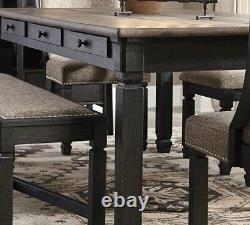 Rustic Cottage Black & Brown 7 piece Dining Room Rectangular Table Chair Set C0O