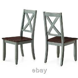 Rustic Dining Room Chairs Farmhouse Kitchen Table Chair Set of 2 Solid Wood