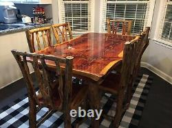 Rustic Dining Table Cabin Furniture Log home Table and Bench set BEAUTIFUL LOOK