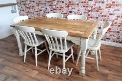 Rustic Farmhouse Extending Dining Table Set Painted Chairs & Benches Seats 12