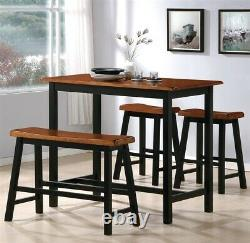 Rustic Tyler 4 Piece Counter Height Two Tone Finish Dining Table Dinette Set