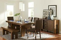 Rustic Walnut Veneer Dining Table Brown Chairs Bench Dining Room Furniture Set