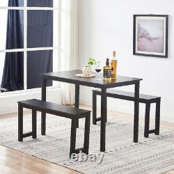 Set of 3 Dining Table Set with 2 Benches Wooden Desk Kitchen Dining Room Furniture