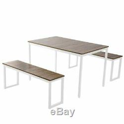 Set of 3 Wooden Dinner Table with 2Pcs Long Bench Farmhous Dinning Room Furniture