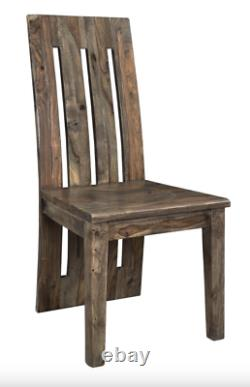 Set of 6 80 L Dining Table bench chair Solid Rosewood Brown and nut grains