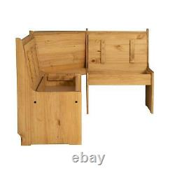 Solid Pine Natural Finished Corner Breakfast Nook Dining Table And Bench Set