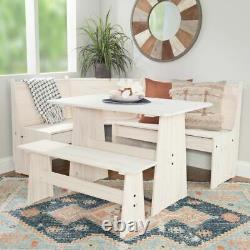 Solid Pine Rustic White Corner Breakfast Nook Dining Table And Bench Set