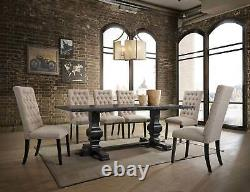 Traditional Black Finish Dining Room Set 7 pieces Rectangular Table Chairs ICB0