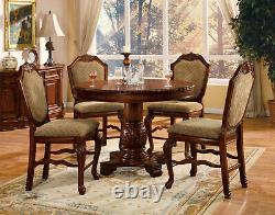Traditional Counter Height Brown Dining Room 5pcs Round Table & Chairs Set IAC9