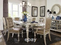 Traditional Design Silver Pearl Finish 7pcs Dining Room Table & Chairs Set IC67