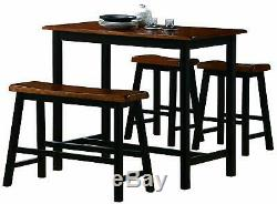 Tyler 4-Piece Counter Height Dining Table Set with Two Chair and One Bench Stool
