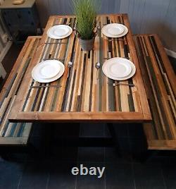 Unique Rustic / Industrial Dining Table And Bench Set