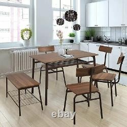 VILOBOS 6PC Dining Table Set Wood 4 Chair Bench Seat Kitchen Breakfast Furniture