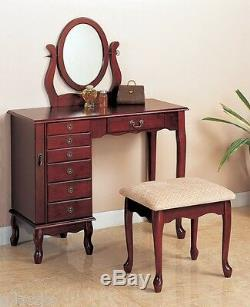 Vanity Set Mirror Desk Table Dresser Bench Fabric Stool Cherry Drawer Wood New