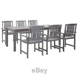 VidaXL 7 Piece Solid Acacia Wood Outdoor Dining Set Gray Garden Table Chairs
