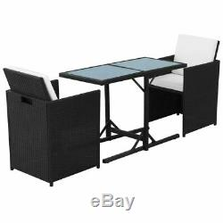 VidaXL Garden Dining Set 7 Pieces Wicker Poly Rattan Chairs Table Furniture