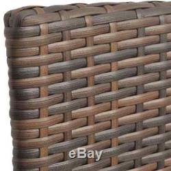 VidaXL Outdoor Dining Set Poly Rattan Table Bench Chair 13 Piece Wicker Brown